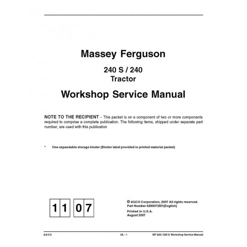 Workshop service manual for Massey Ferguson 240, 240 S tractor, PDF-Massey Ferguson service repair workshop manuals