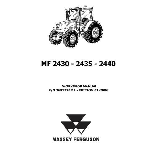 Manuel d'atelier du tracteur Massey Ferguson MF 2430, 2435, 2440 - Massey Ferguson manuels