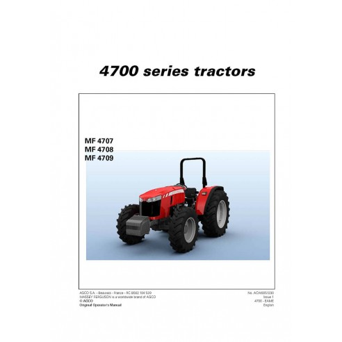 Massey Ferguson 4707 / 4708 / 4709 tractor operator's manual - Massey Ferguson manuals
