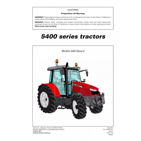 Operator's manual for Massey Ferguson MF 5400 Series tractor, PDF-Massey Ferguson service repair workshop manuals