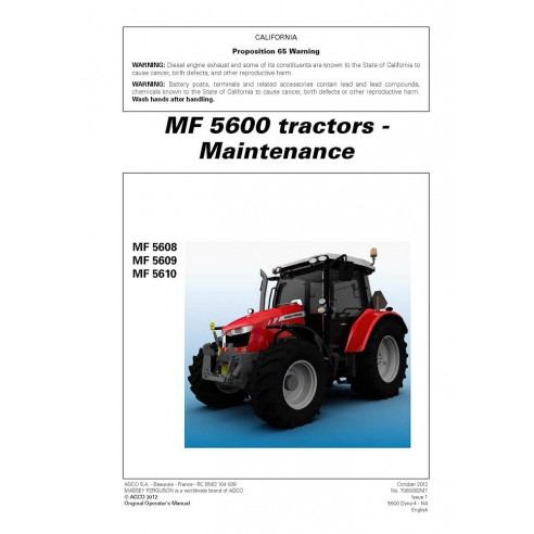 Massey Ferguson MF 5608 / 5609 / 5610 tractor maintenance manual - Massey Ferguson manuals