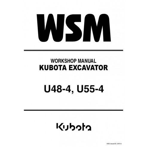Manuel d'atelier des pelles Kubota U48-4, U55-4 - Kubota manuels