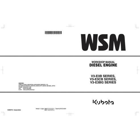 Kubota V3-E3B SERIES, V3-E3CB SERIES, V3-E3BG SERIES diesel engine workshop manual - Kubota manuals