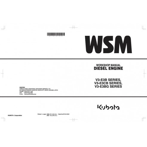 Workshop manual for Kubota V3-E3B SERIES, V3-E3CB SERIES, V3-E3BG SERIES diesel engine, PDF-Kubota