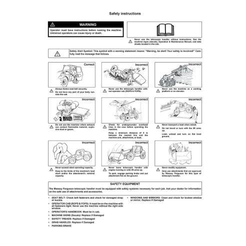 Operation & Maintenance manual for Massey Ferguson MF 8947 telehandlers, PDF-Massey Ferguson service repair workshop manuals