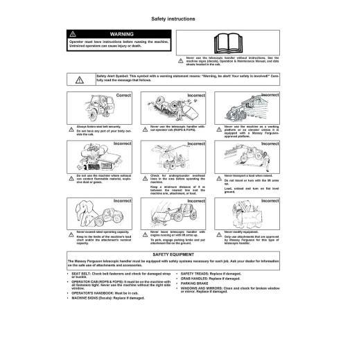 Massey Ferguson MF 8925, MF 8926 telehandlers operation & maintenance manual - Massey Ferguson manuals