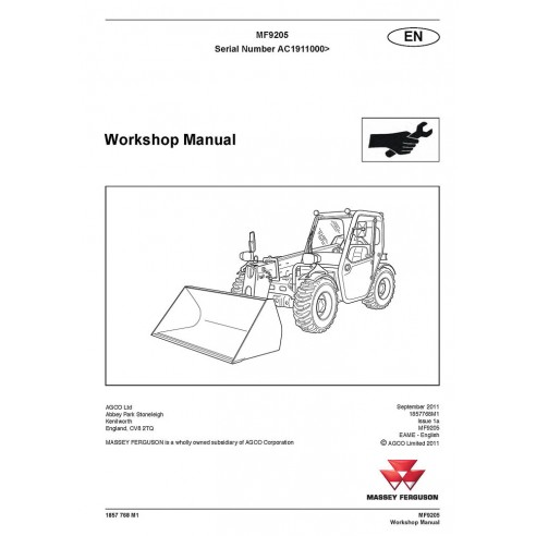Manual de oficina dos manipuladores telescópicos Massey Ferguson MF 9205 - Massey Ferguson manuais