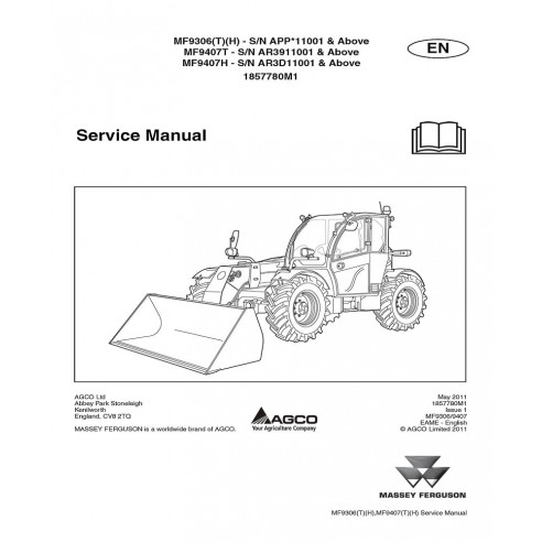 Service manual for Massey Ferguson MF 9306T, MF 9306H, MF 9407T, MF 9307H telehandlers, PDF-Massey Ferguson service repair wo...