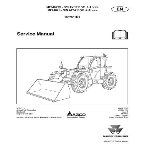 Manuel d'entretien des chariots télescopiques Massey Ferguson MF 9407TS, MF 9307S - Massey Ferguson manuels