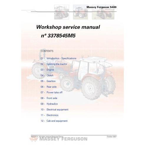 Manuel d'entretien d'atelier de tracteur Massey Ferguson 5425/5435/5445/5455 - Massey Ferguson manuels