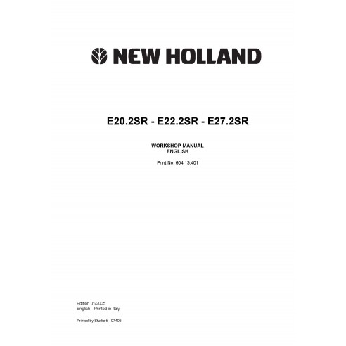 Workshop manual for New Holland  E20.2SR, E22.2SR, E27.2SR mini excavator