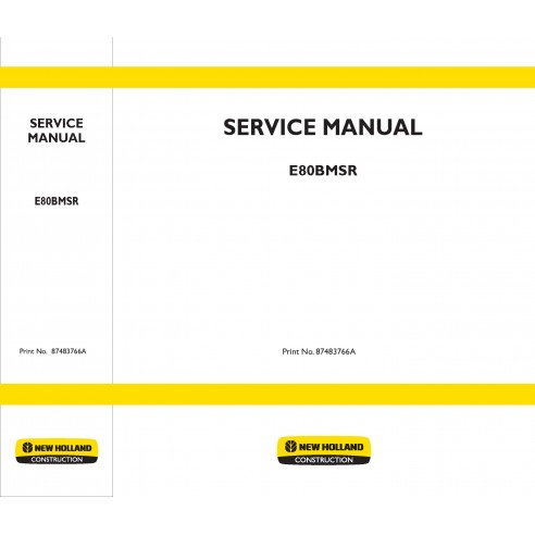New Holland E80BMSR excavator service manual - New Holland Construction manuals