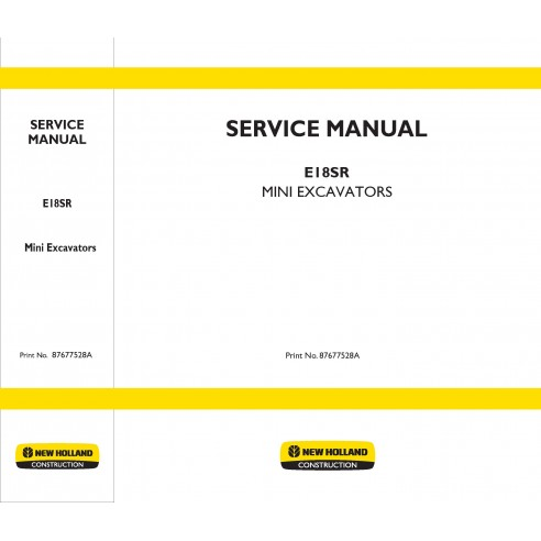 New Holland E18SR mini excavator service manual - New Holland Construction manuals