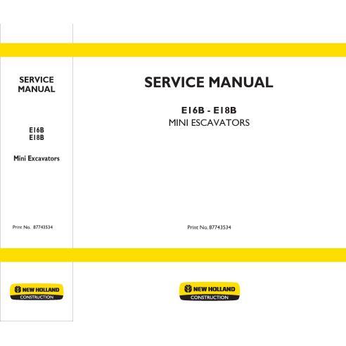 Manual de serviço da miniescavadeira New Holland E16B - E18B - New Holland Construction manuais
