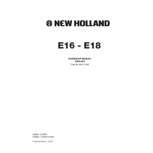 Workshop manual for New Holland E16 - E18 mini excavator