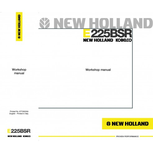 New Holland E225BSR excavator workshop manual - New Holland Construction manuals