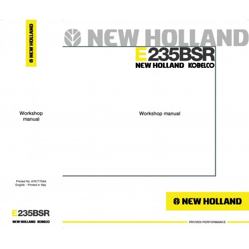 Manuel d'atelier pour pelle New Holland E235BSR - Construction New Holland manuels