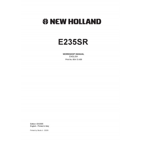 Workshop manual for New Holland E235SR excavator
