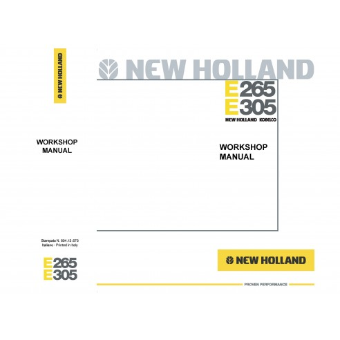 Workshop manual for New Holland E265, E305 excavator