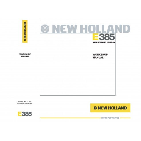 Workshop manual for New Holland E385 excavator