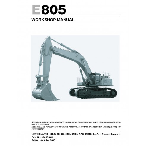 New Holland E805 excavator workshop manual - New Holland Construction manuals