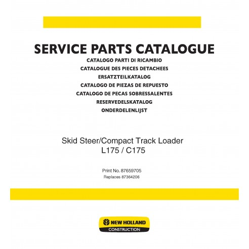 Catálogo de piezas de cargadoras deslizantes New Holland L175, C175 - Construcción New Holland manuales