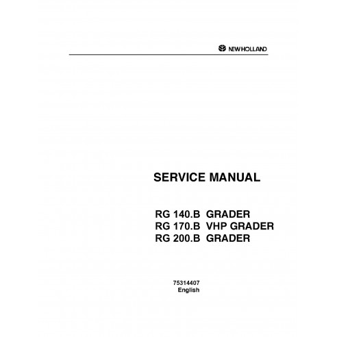 Service manual for New Holland RG 140 - 200 B grader