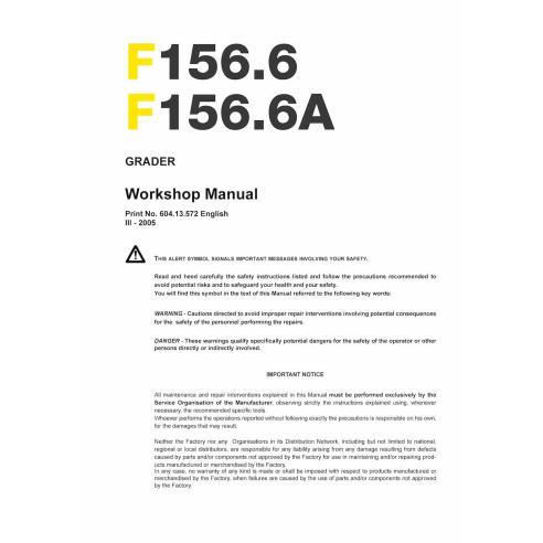 Workshop manual for New Holland F156.6 grader
