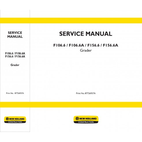 Service manual for New Holland F106.6, F156.6 grader