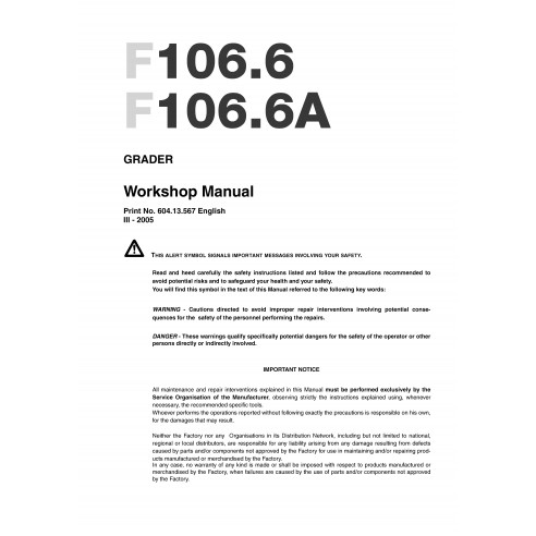 Workshop manual for New Holland F106.6 grader