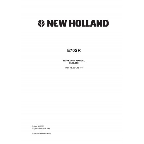 Manual de taller de la excavadora New Holland E70SR - Construcción New Holland manuales