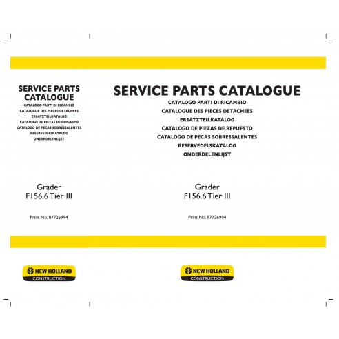 Catálogo de repuestos para motoniveladoras New Holland F156.6 - Construcción New Holland manuales