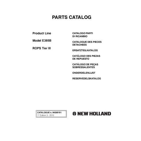 New Holland E385B excavator parts catalog - New Holland Construction manuals