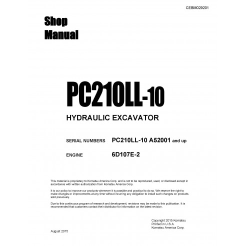 Manual de oficina da escavadeira Komatsu PC210LL-10 - Komatsu manuais