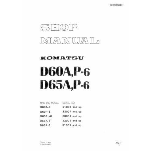 Manual da oficina de buldôzer Komatsu D50A, D65A P6 - Komatsu manuais