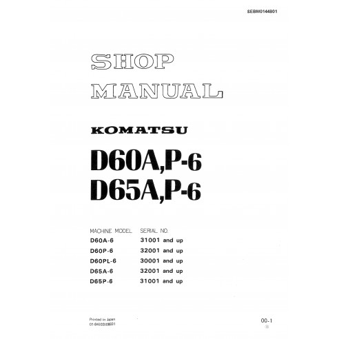 Shop manual for Komatsu D50A, D65A P6 dozer