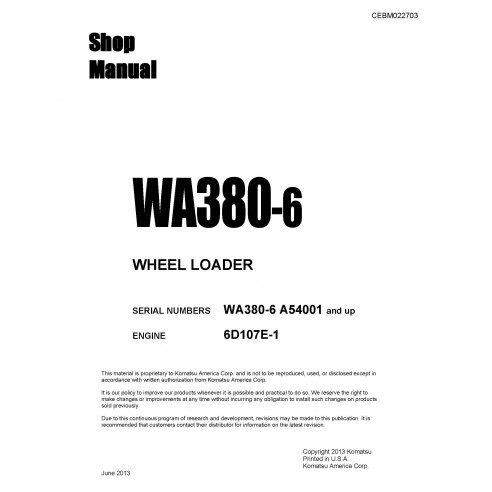 Shop manual for Komatsu WA380-6 wheel loader
