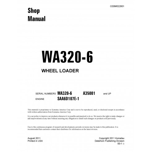 Komatsu WA320-6 wheel loader shop manual - Komatsu manuals