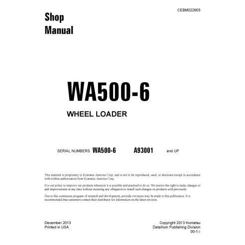 Manual de oficina da carregadeira de rodas Komatsu WA500-6 - Komatsu manuais