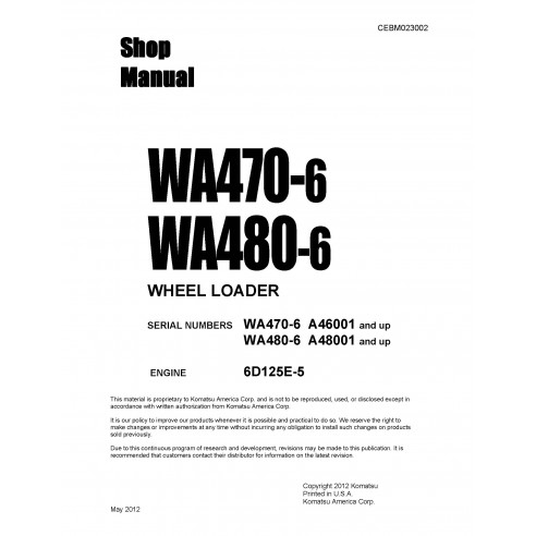 Shop manual for Komatsu WA470-6, WA480-6 wheel loader