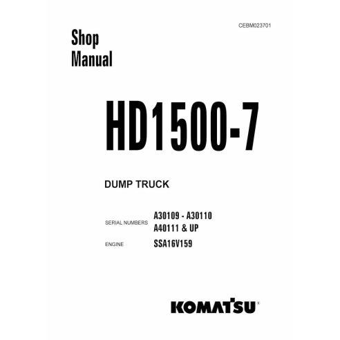 Komatsu HD1500-7 dump truck shop manual - Komatsu manuals