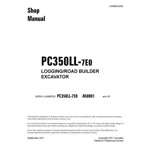 Manual de oficina da escavadeira Komatsu PC350LL-7E0 - Komatsu manuais