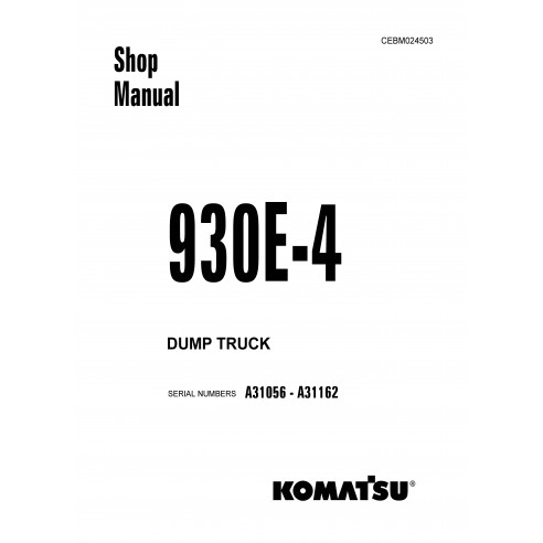 Komatsu 930E - Manuel d'atelier pour camions à benne basculante 4 - Komatsu manuels