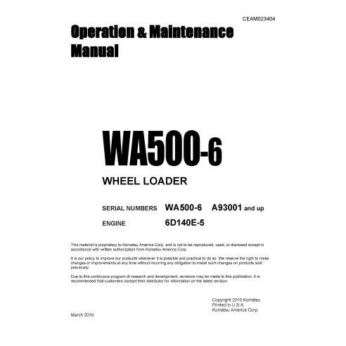 Manual de operação e manutenção da carregadeira de rodas Komatsu WA500-6 - Komatsu manuais