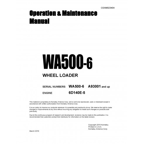 Manual de operación y mantenimiento de la cargadora de ruedas Komatsu WA500-6 - Komatsu manuales