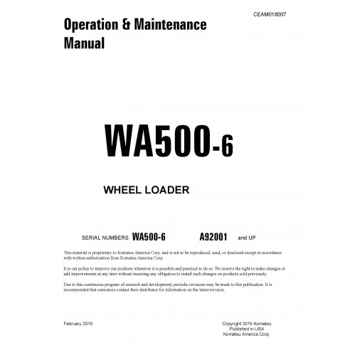 Komatsu wheel loader WA500-6 operation & maintenance manual