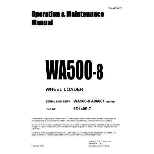 Manuel d'utilisation et d'entretien de la chargeuse sur pneus Komatsu WA500-8 - Komatsu manuels