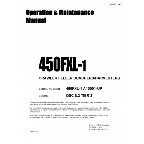 Komatsu dozer 450FXL-1 operation & maintenance manual