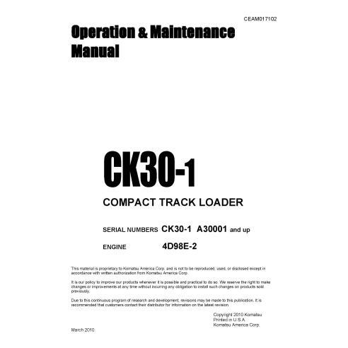 Manual de operação e manutenção da carregadeira Komatsu CK30-1 - Komatsu manuais