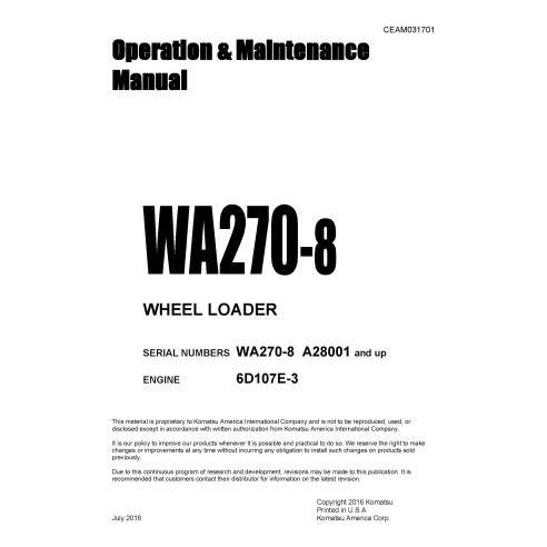 Manuel d'utilisation et d'entretien de l'excavatrice Komatsu WA270-8 - Komatsu manuels